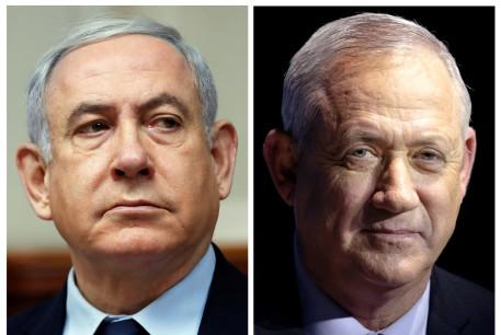 Likud leader Benjamin Netanyahu and Blue and White leader Benny Gantz