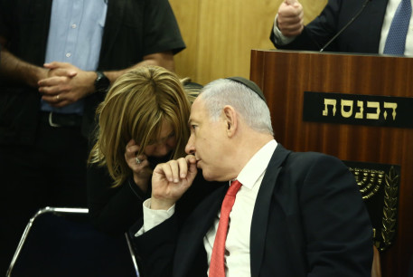 PM Benjamin Netanyahu with parliamentary adviser Rivka Paluch, who tested positive for the coronavirus