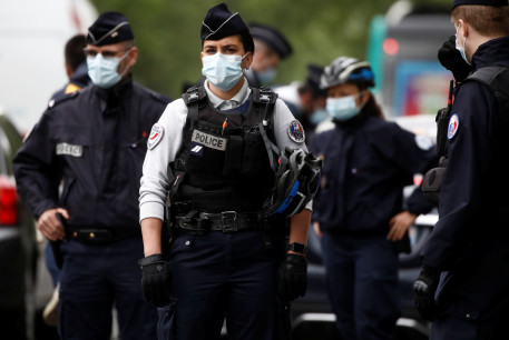 French police officers in Paris, France, April 28, 2020.