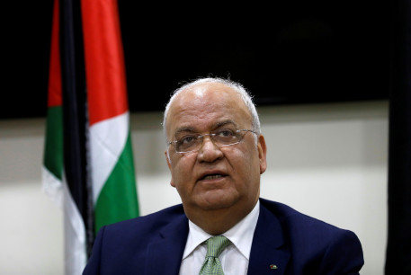 Chief Palestinian negotiator Saeb Erekat looks on during a news conference following his meeting with foreign diplomats, in Ramallah, West Bank January 30, 2019