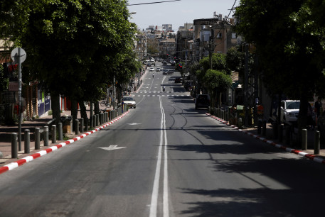 A general view shows a street in Bnei Brak as Israel enforces a lockdown, April 3, 2020