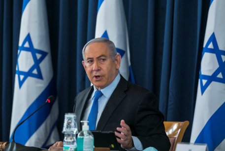 Prime Minister Benjamin Netanyahu attends the government cabinet meeting, June 28, 2020