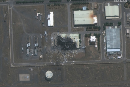 A handout satellite image shows a closeup view of a building damaged by fire at the Natanz nuclear facility in Natanz, Iran July 8, 2020.