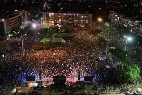 Thousands protest economic situation amid coronavirus crisis in Tel Aviv, July 11, 2020
