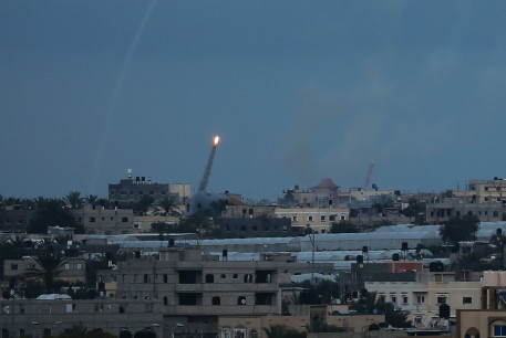 A ROCKET IS fired toward Israel from the southern Gaza Strip in February.