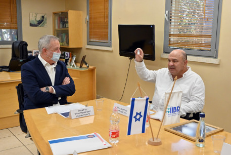 Alternate Prime Minister and Defense Minister Benny Gantz meets with IIRB director-general Professor Shmuel Shapria, August 6, 2020