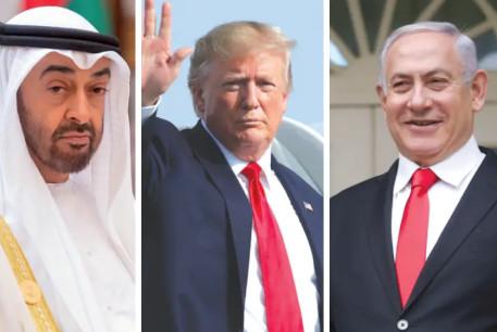 L-R: Crown Prince of Abu Dhabi Sheikh Mohammed Bin Zayed, US President Donald Trump, Israeli Prime Minister Benjamin Netanyahu