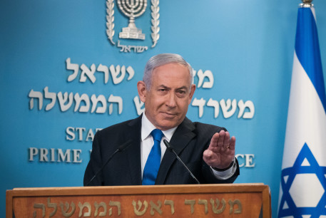 Israeli prime minister Benjamin Netanyahu gives a press statement at the PM's office in Jerusalem, on August 13, 2020.