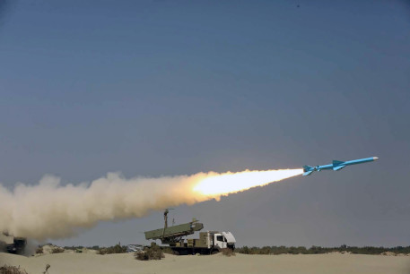 """A missile is launched during the annual military drill, dubbed """"Zolphaghar 99"""", in the Gulf of Oman with the participation of Navy, Air and Ground forces, Iran on September 9, 2020."""
