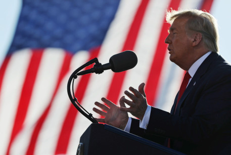 US President Donald Trump speaks during a campaign rally at Phoenix Goodyear Airport in Goodyear, Arizona, US, October 28, 2020