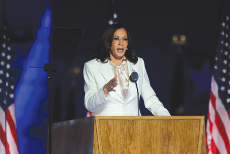 VICE PRESIDENT-ELECT Kamala Harris speaks after Joe Biden is named winner of the 2020 US presidential election, in Wilmington, Delaware, on November 7.
