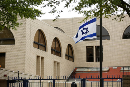 Israeli flag flies at the Israeli Embassy in Washington