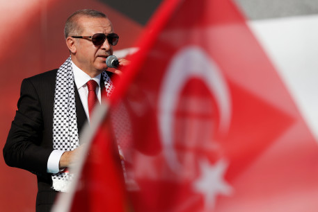 Turkish President Tayyip Erdogan delivers a speech during a protest against the recent killings of Palestinian protesters on the Gaza-Israel border and the US embassy move to Jerusalem, in Istanbul, Turkey May 18, 2018