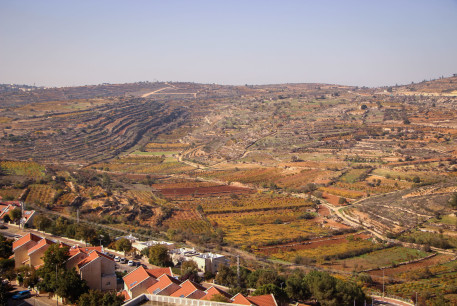 View of the Jewish settlement of Efrat and the surrounding fields, in Gush Etzion, West Bank, on December 1, 2020.
