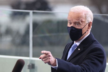 US President-elect Joe Biden gestures as he arrives for his inauguration as the 46th President of the United States on the West Front of the US Capitol in Washington, US, January 20, 2021.