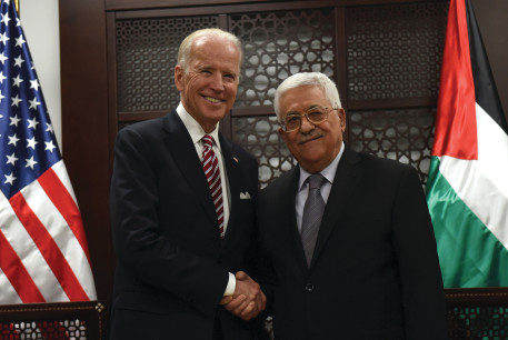 THEN-US VICE-PRESIDENT Joe Biden shakes hands with Palestinian Authority President Mahmoud Abbas in Ramallah in 2016.