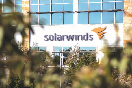 THE SOLARWINDS logo is seen outside its headquarters in Austin, Texas, in December.
