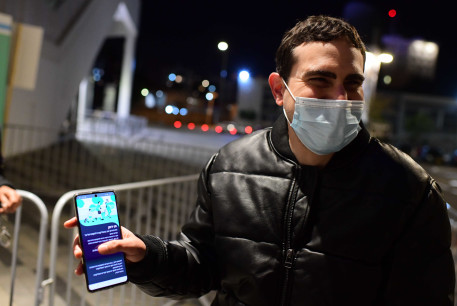 Israeli rock singer Shalom Hanoch Perform in front  people vaccinated against COVID-19  holding a Green Passport in  Bloomfield Stadium on March 6, 2021.