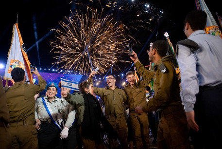 Israeli soldiers dance during the 73rd anniversary Independence Day ceremony, held at Mount Herzl, Jerusalem on April 14, 2021.