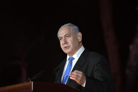 Prime Minister Benjamin Netanyahu speaks at a Jerusalem Day ceremony, Ammunition Hill, Jerusalem, May 10, 2021