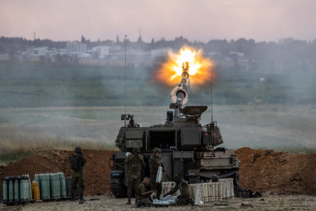 IDF (Israel Defense Force) Artillery Corps seen firing into Gaza, near the Israeli border with Gaza on May 17, 2021.