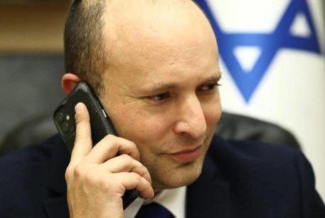 Prime Minister Naftali Bennet on the phone with US President Joe Biden.