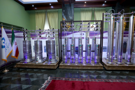 A number of new generation Iranian centrifuges are seen on display during Iran's National Nuclear Energy Day in Tehran
