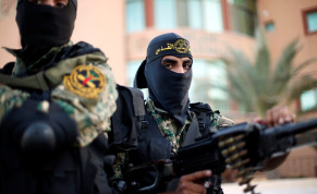 Palestinian Islamic Jihad militants attend a military parade in Gaza October 19, 2016.