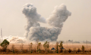 Smoke rises after an U.S. airstrike, while the Iraqi army pushes into Topzawa village during the operation against Islamic State militants near Bashiqa, near Mosul, Iraq October 24, 2016.
