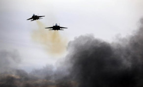 Israeli Air Force F15 planes fly during an aerial demonstration at a graduation ceremony for Israeli air force pilots at the Hatzerim air base in southern Israel, December 27, 2017.