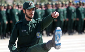 An Iranian Officer of Revolutionary Guards, with Israel flag drawn on his boots, is seen during graduation ceremony, held for the military cadets in a military academy, in Tehran, Iran June 30, 2018