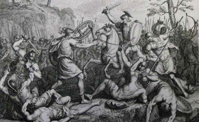 'JOSHUA FIGHTING Amalek,' print from the Phillip Medhurst Collection of Bible illustrations at St. George's Court.