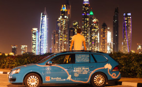 Dutch adventurer Wiebe Wakker on his electric car journey from the Netherlands to Australia, in Dubai, UAE December 2016 in this picture obtained from social media.