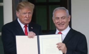 US PRESIDENT Donald Trump and Prime Minister Benjamin Netanyahu hold up a proclamation recognizing Israel's sovereignty over the Golan Heights at the White House in March.