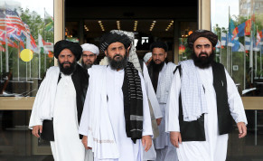 Members of a Taliban delegation leave after peace talks with Afghan senior politicians in Moscow, May 30, 2019