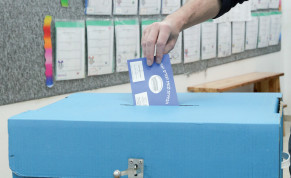 A voter in Jerusalem in the last Knesset election on April 9