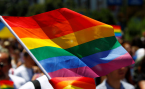 The rainbow flag, commonly known as the gay pride flag or LGBT pride flag, is seen during the first Gay Pride parade in Skopje, North Macedonia June 29, 2019