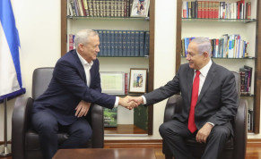 Blue and White leader Benny Gantz and Prime Minister Benjamin Netanyahu meet to discuss possible political frameworks, October 27 2019