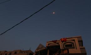 Rockets fly over the house where Palestinian Islamic Jihad leader Bahaa Abu Al-Ata was assassinated by the IDF