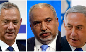 Blue and White leader Benny Gantz, Yisrael Beteynu chairman Avigdor Liberman and Prime Minister Benjamin Netanyahu