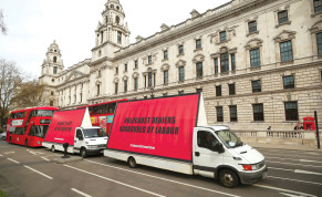 VANS WITH slogans aimed at the Labour Party are driven around Parliament Square in London ahead of a debate on antisemitism last year.