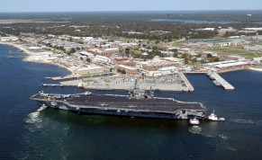 The aircraft carrier USS John F. Kennedy arrives for exercises at Naval Air Station Pensacola
