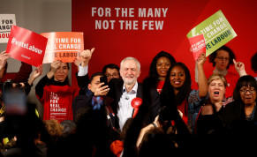 Britain's opposition Labour Party leader Jeremy Corbyn gives a thumbs up during a final general election campaign event in London.
