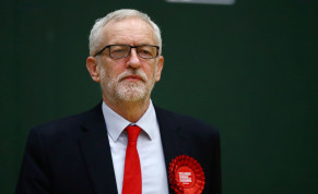 Britain's opposition Labour Party leader Jeremy Corbyn reacts after the General Election results of the Islington North constituency were announced
