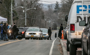 A patrol vehicle is seen near Rabbi Chaim Rottenberg's residence in Monsey, New York, U.S., December 29, 2019