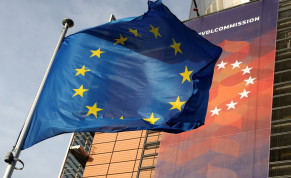 A European Union flag flies outside the European Commission headquarters in Brussels, Belgium, December 19, 2019.