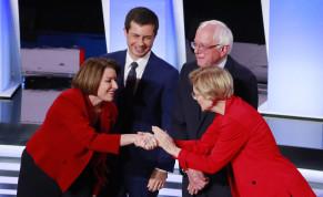 U.S. Senator Amy Klobuchar, South Bend Mayor Pete Buttigieg, U.S. Senator Bernie Sanders and U.S. Senator Elizabeth Warren (L-R) greet each other on the first night of the second 2020 Democratic U.S. presidential debate in Detroit, Michigan, U.S., July 30, 2019