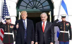 U.S. President Donald Trump gestures as he welcomes Israel's Prime Minister Benjamin Netanyahu at the White House in Washington, U.S., January 27, 2020.