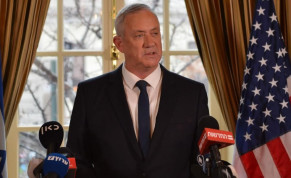 Blue and White leader Benny Gantz speaks to the press after meeting President Donald Trump in Washington DC on January 27, 2020.