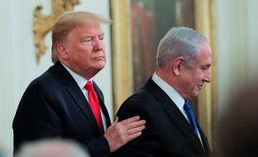 U.S. President Donald Trump and Israel's Prime Minister Benjamin Netanyahu appear together at a joint news conference to discuss a new Middle East peace plan proposal in the East Room of the White House in Washington, U.S.